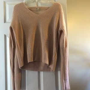 Sweaters - Pink sweater with shredded detail